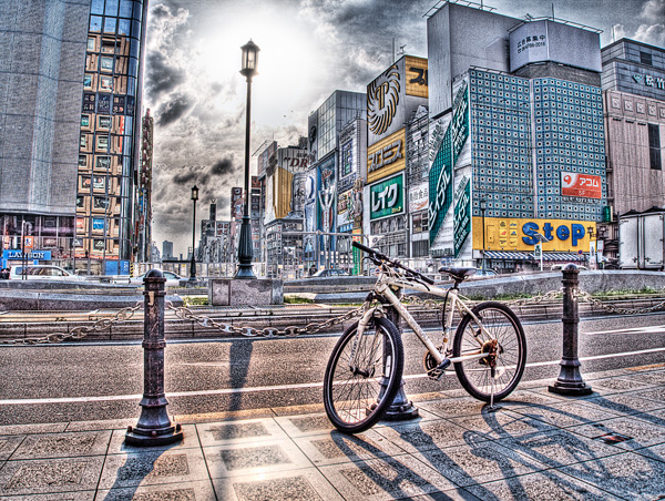 自転車と道頓堀